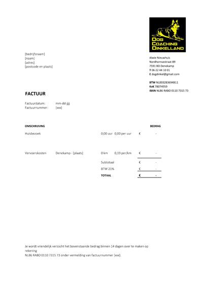 Excel Sjabloon Voor Uw Factuur Mijn Sjablonen